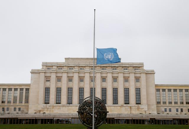 The United Nations flag is pictured at half mast in memory of the victims of Ethiopian Airlines Flight ET 302 plane crash, in Geneva, Switzerland, March 11, 2019.  REUTERS/Denis Balibouse