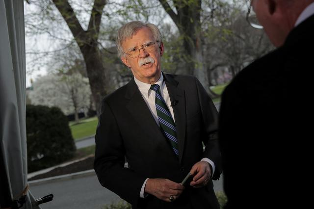 U.S. National Security Advisor John Bolton speaks during an interview at the White House in Washington, U.S., March 29, 2019. REUTERS/Brendan McDermid