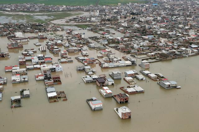 FILE PHOTO: An aerial view of flooding in Golestan province, Iran March 27, 2019. Official Iranian President website/Handout via REUTERS
