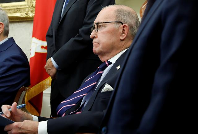 White House economic adviser Larry Kudlow takes notes during a meeting between U.S. President Donald Trump and China's Vice Premier Liu He in the Oval Office at the White House in Washington, U.S., February 22, 2019. REUTERS/Carlos Barria