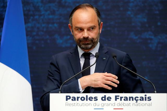 French Prime Minister Edouard Philippe leaves after his speech during the presentation of the Great National Debate findings, called to quell the anger of French yellow vests movement, at the Grand Palais in Paris, France, April 8, 2019.  REUTERS/Charles Platiau