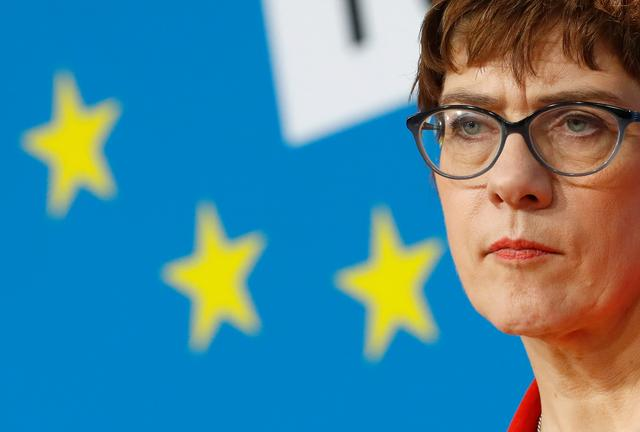 Christian Democratic Union (CDU) leader Annegret Kramp-Karrenbauer addresses the media following a CDU/CSU senior party leaders meeting in Berlin,, Germany, March 25, 2019.  REUTERS/Fabrizio Bensch