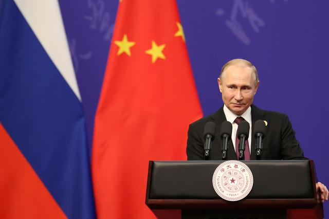 Russian President Vladimir Putin gives a speech during the Tsinghua University's ceremony at Friendship Palace in Beijing, China April 26, 2019. Kenzaburo Fukuhara/Pool via REUTERS
