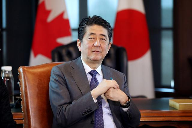 Japan's Prime Minister Shinzo Abe takes part in a meeting with Canada's Prime Minister Justin Trudeau (not pictured) on Parliament Hill in Ottawa, Ontario, Canada, April 28, 2019. REUTERS/Chris Wattie