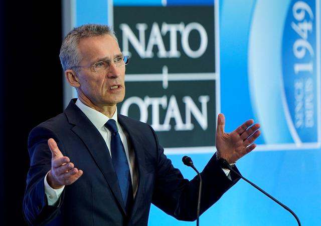 FILE PHOTO: NATO Secretary General Jens Stoltenberg speaks to the media during an alliance foreign minister's meeting in Washington, U.S., April 4, 2019. REUTERS/Joshua Roberts/File Photo
