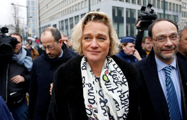 Belgian artist Delphine Boel and her lawyers leave a courthouse, after a new hearing in her legal battle to prove former Belgian King Albert is her father, in Brussels, Belgium February 21, 2017. REUTERS/Francois Lenoir