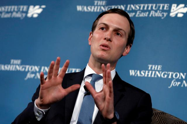 FILE PHOTO: White House senior adviser Jared Kushner, U.S. President Donald Trump's son-in-law, speaks during a discussion on Inside the Trump Administration's Middle East Peace Effort at a dinner symposium of the Washington Institute for Near East Policy (WINEP) in Washington, U.S., May 2, 2019. REUTERS/Yuri Gripas/File Photo