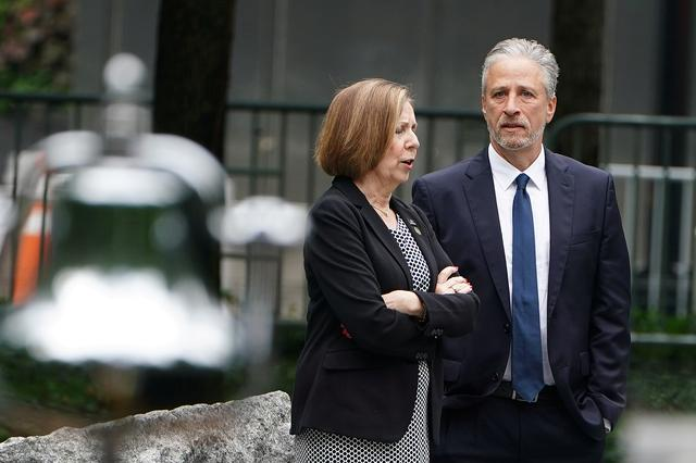 FILE PHOTO - Former TV host Jon Stewart attends the dedication ceremony of the Memorial Glade at the 9/11 Memorial site in the Manhattan borough of New York, New York, U.S., May 30, 2019. REUTERS/Carlo Allegri