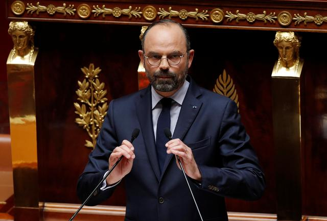 French Prime Minister Edouard Philippe delivers his second general policy speech at the National Assembly in Paris, France,  June 12, 2019.  REUTERS/Philippe Wojazer