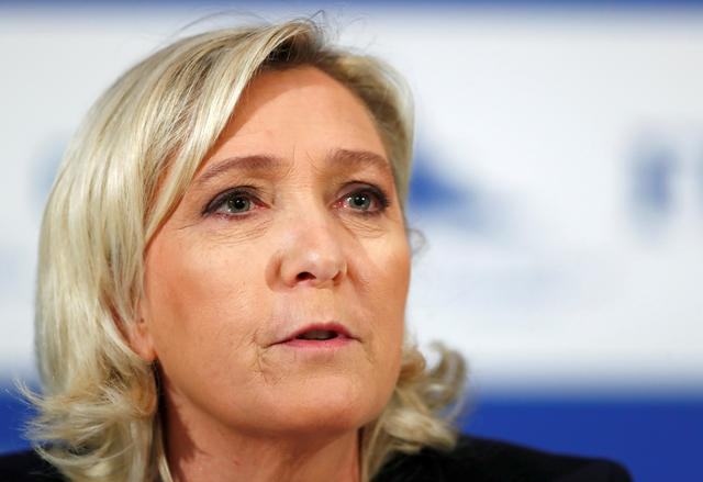FILE PHOTO: Marine Le Pen, the leader of France's far-right National Rally party, speaks during a news conference in Tallinn, Estonia May 14, 2019. REUTERS/Ints Kalnins/File Photo