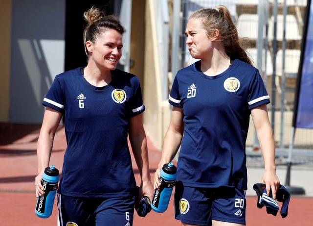 FILE PHOTO: Soccer Football - Women's World Cup - Scotland Training - Allianz Riviera, Nice, France - June 8, 2019  Scotland's Joanne Love and Fiona Brown during training  REUTERS/Eric Gaillard/File Photo
