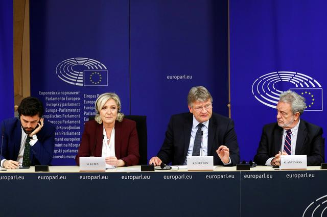 Italian Member of the European Parliament for Lega Nord Marco Zanni, French far-right National Rally (Rassemblement National) party leader Marine Le Pen, German MEP and AFD leader Jorg Meuthen and Belgian MEP and Flemish right wing Vlaams Belang party member Gerolf Annemans address a joint news conference on the formation of a new far-right European Parliament group to represent nationalists' interests at the EU Parliament in Brussels, Belgium June 13, 2019.  REUTERS/Francois Lenoir - RC186C3E2850