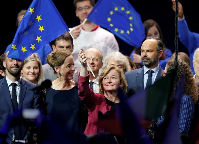 FILE PHOTO: Nathalie Loiseau, head of the Renaissance (Renewal) list for the European elections, holds a European flag at the end of a political rally with French Prime Minister Edouard Philippe, in Strasbourg, France, May 11, 2019.  REUTERS/Vincent Kessler/File Photo