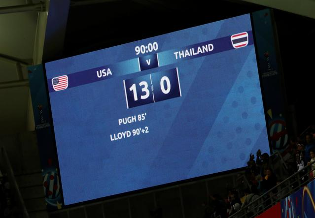 Soccer Football - Women's World Cup - Group F - United States v Thailand - Stade Auguste-Delaune, Reims, France - June 11, 2019  General view of the scoreboard after the match  REUTERS/Christian Hartmann