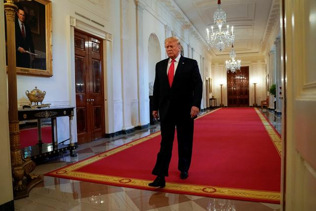 U.S. President Donald Trump enters the East Room to deliver remarks on second chance hiring, at the White House in Washington, U.S., June 13, 2019.  REUTERS/Kevin Lamarque - RC18BC7B2F20