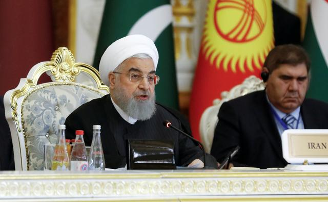 Iranian President Hassan Rouhani delivers a speech at the Conference on Interaction and Confidence-Building Measures in Asia (CICA) in Dushanbe, Tajikistan June 15, 2019. REUTERS/Mukhtar Kholdorbekov
