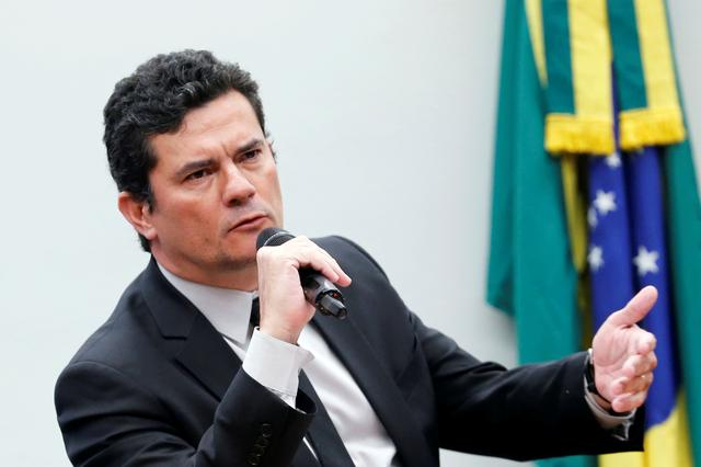 FILE PHOTO: Brazil's Justice Minister Sergio Moro speaks during a session of the Public Security commission at the National Congress in Brasilia, Brazil May 8, 2019. REUTERS/Adriano Machado/File Photo