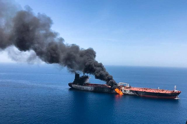 FILE PHOTO: An oil tanker is seen after it was attacked at the Gulf of Oman, in waters between Gulf Arab states and Iran, June 13, 2019. ISNA/Handout via REUTERS
