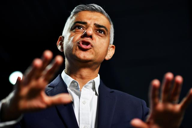FILE PHOTO: Mayor of London Sadiq Khan speaks during an interview with Reuters at an event to promote the start of London Tech Week, in London, Britain, June 10, 2019.  REUTERS/Dylan Martinez/File Photo