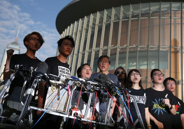 Members of Civil Human Rights Front hold a news conference in response to the announcement by Hong Kong Chief Executive Carrie Lam regarding the proposed extradition bill, outside the Legislative Council building in Hong Kong, China, June 15, 2019. REUTERS/Athit Perawongmetha