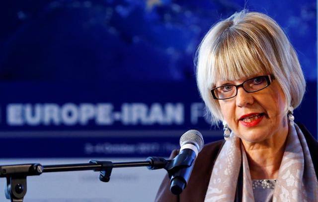 FILE PHOTO: Helga Schmid, Secretary General of the European External Action Service (EEAS), addresses the 4th Europe-Iran Forum in Zurich, Switzerland October 4, 2017. REUTERS/Arnd Wiegmann/File Photo