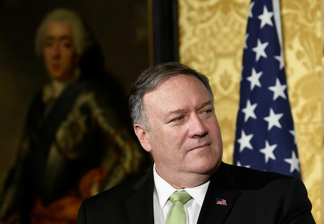FILE PHOTO: U.S. Secretary of State Mike Pompeo looks on during a joint news conference in The Hague, Netherlands June 3, 2019. REUTERS/Piroschka Van De Wouw
