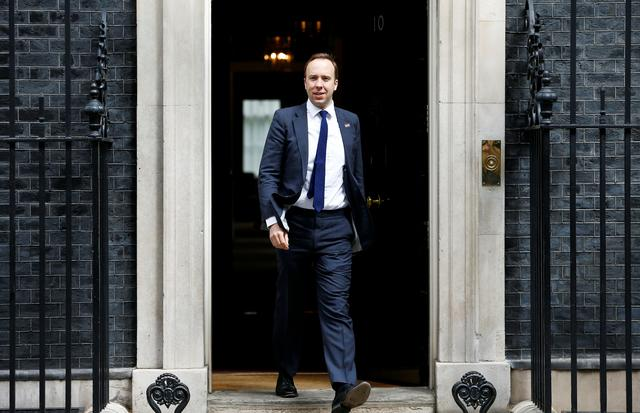 FILE PHOTO: Britain's Secretary of State for Health Matt Hancock is seen outside Downing Street, as uncertainty over Brexit continues, in London, Britain May 7, 2019. REUTERS/Henry Nicholls/File Photo