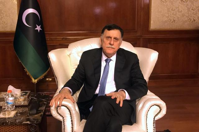 Libya's internationally recognized Prime Minister Fayez al-Serraj is seen during an interview with Reuters at his office in Tripoli, Libya June 16, 2019. REUTERS/Ulf Laessing