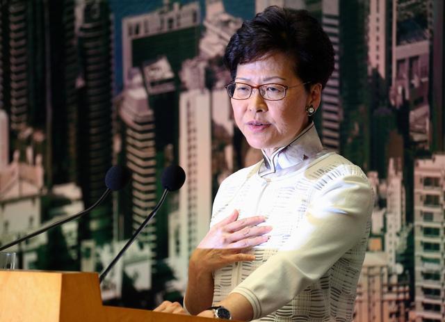 Hong Kong Chief Executive Carrie Lam speaks at a news conference in Hong Kong, China, June 15, 2019. REUTERS/Athit Perawongmetha