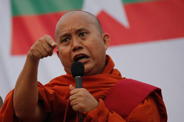 FILE PHOTO: Myanmar Buddhist monk Wirathu speaks at a rally against constitution change in Yangon, Myanmar, May 5, 2019. REUTERS/Ann Wang/File photo