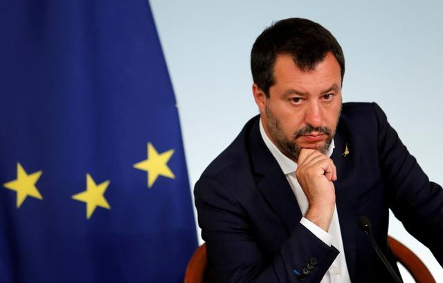 FILE PHOTO: Italian Deputy Prime Minister Matteo Salvini attends a joint news conference following a cabinet meeting in Rome, Italy, June 11, 2019 REUTERS/Remo Casilli