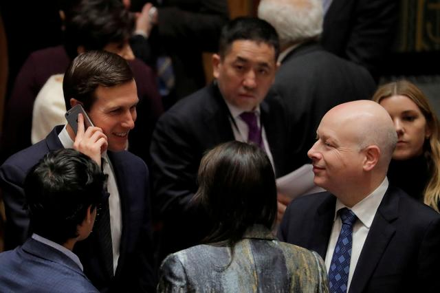 FILE PHOTO: White House senior adviser Jared Kushner (L) speaks with United States Ambassador to the United Nations Nikki Haley and lawyer Jason Greenblatt (R) before a meeting of the United Nations Security Council at UN headquarters in New York, U.S., February 20, 2018. REUTERS/Lucas Jackson/File Photo