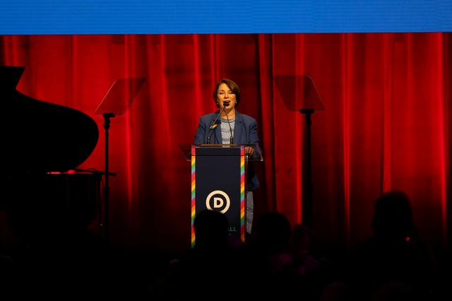 U.S. Democratic presidential candidate Amy Klobuchar speaks during the Democratic National Committee LGBTQ Gala in New York City, U.S., June 17, 2019.  REUTERS/Gabriela Bhaskar