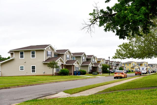 Homes that were constructed by Balfour Beatty are seen in a neighborhood at Tinker Air Force Base, Oklahoma, U.S. May 1, 2019. Picture taken May 1, 2019.  REUTERS/Nick Oxford