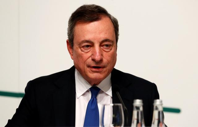 FILE PHOTO: Mario Draghi, President of the European Central Bank (ECB), attends a news conference in Vilnius, Lithuania June 6, 2019. REUTERS/Ints Kalnins