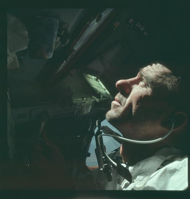 FILE PHOTO: Astronaut Walter Cunningham, Apollo 7 lunar module pilot, is photographed during the Apollo 7 mission in this October 1968 NASA handout photo. The photograph is one of more than 12,000 from NASA's archives recently aggregated on the Project Apollo Archive Flickr account.  REUTERS/NASA/Handout via Reuters