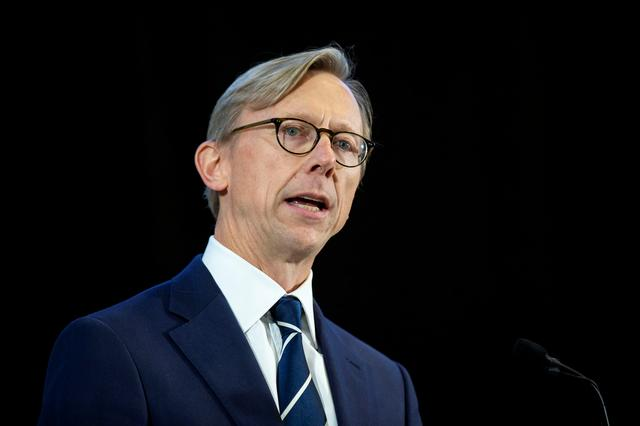 FILE PHOTO: Brian Hook, U.S. Special Representative for Iran, speaks about potential threats posed by Iran, during a news conference at a military base in Washington, U.S., November 29, 2018. REUTERS/Al Drago/File Photo