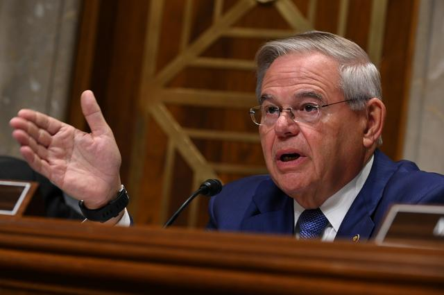 FILE PHOTO - Ranking member Bob Menendez (D-NJ) questions U.S. Secretary of State Mike Pompeo during a Senate foreign Relations Committee hearing on the State Department budget request in Washington, U.S. April 10, 2019. REUTERS/Erin Scott