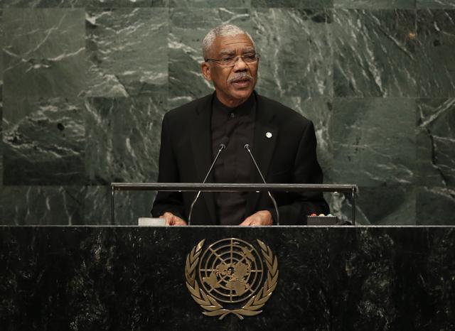 President David Granger of Guyana addresses the 71st United Nations General Assembly in Manhattan, New York, U.S. September 20,  2016. REUTERS/Mike Segar