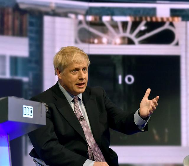 Boris Johnson appears on BBC TV's debate with candidates vying to replace British PM Theresa May, in London, Britain June 18, 2019. Jeff Overs/BBC/Handout via REUTERS