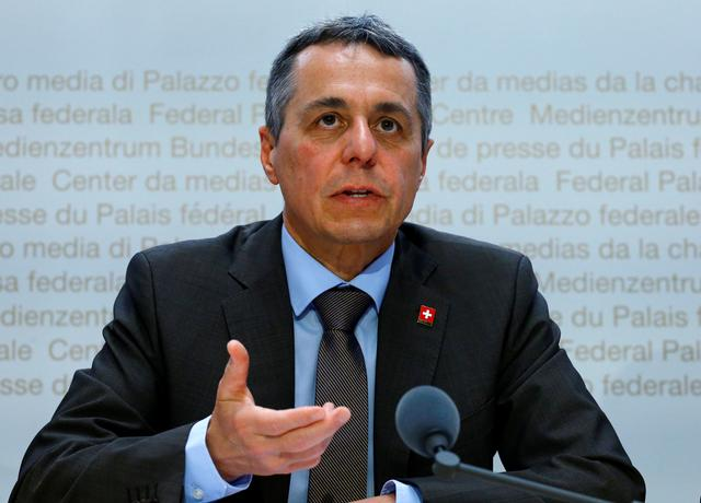 FILE PHOTO: Swiss Foreign Minister Ignazio Cassis addresses a news conference in Bern, Switzerland June 7, 2019.  REUTERS/Arnd Wiegmann