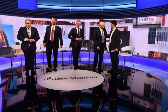 Boris Johnson, Jeremy Hunt, Michael Gove, Sajid Javid and Rory Stewart appear on BBC TV's debate with candidates vying to replace British PM Theresa May, in London, Britain June 18, 2019. Jeff Overs/BBC/Handout via REUTERS A