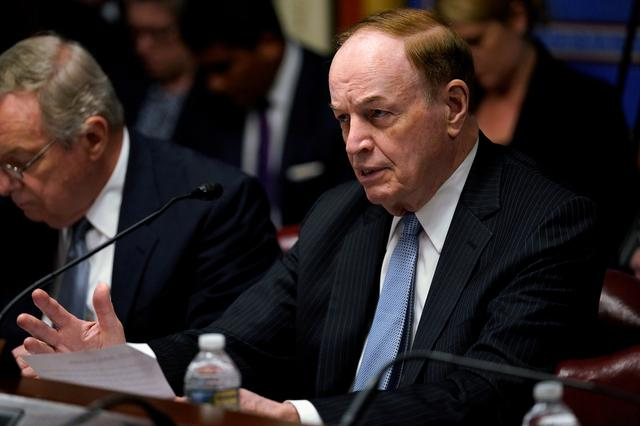 FILE PHOTO: FILE PHOTO: Sen. Richard Shelby (R-AL) asks a question as then Acting Defense Secretary Patrick Shanahan; and Chairman of the Joint Chiefs of Staff Gen. Joseph Dunford testify before a Senate Appropriations Defense Subcommittee hearing on the proposed FY2020 budget for the Defense Department on Capitol Hill in Washington, May 8, 2019. REUTERS/Aaron P. Bernstein/File Photo