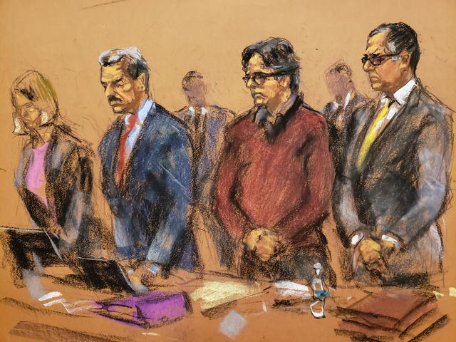 Defense attorney Marc Agnifolo (R) appears in this courtroom sketch in the trial of Nxivm leader Keith Raniere along with Paul DerOhannesian (2nd L) and Danielle Smith (L) in U.S. Federal Court in Brooklyn, New York, U.S., June 19, 2019.REUTERS/Jane Rosenberg