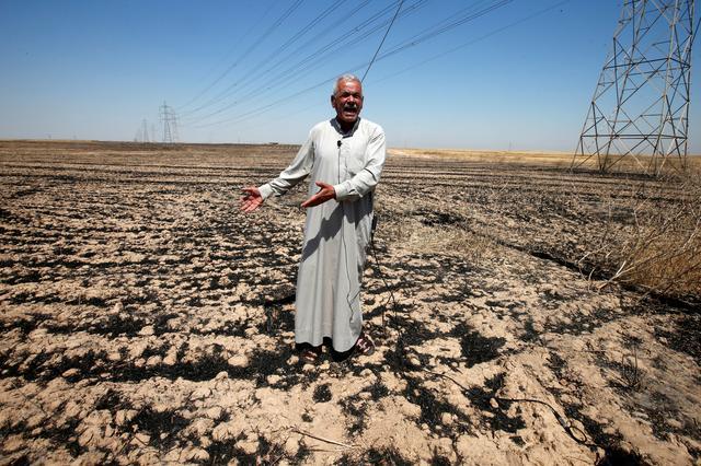 A farmer reacts on his field, which was burned by fire, in al-Hamdaniya, near Mosul, Iraq June 12, 2019. Picture taken June 12, 2019. REUTERS/Azad Lashkari