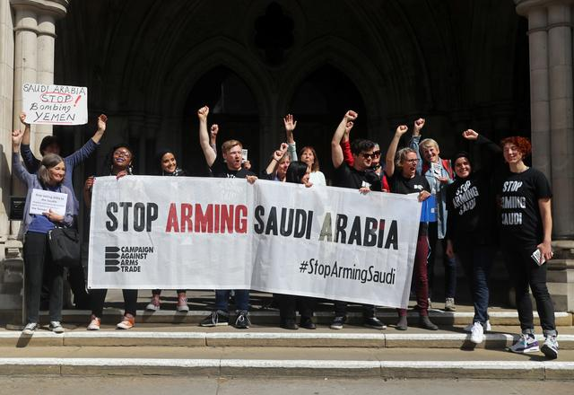 Demonstrators react outside the Court of Appeal after the result in the court case regarding the judgment of a legal battle by campaigners to challenge the UK government's decision to grant licences for the export of arms to Saudi Arabia in London, Britain June 20, 2019. REUTERS/Simon Dawson