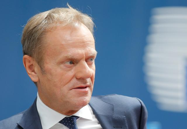 European Council President Donald Tusk arrives for the European Union leaders summit in Brussels, Belgium, June 20, 2019. Julien Warnand/Pool via REUTERS