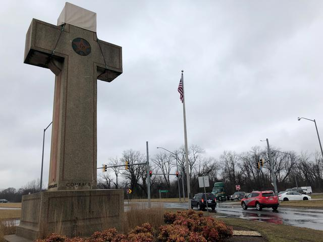 FILE PHOTO: A concrete cross commemorating servicemen killed in World War One, that is the subject of a religious rights case now before the U.S. Supreme Court, is seen in Bladensburg, Maryland, U.S., February 11, 2019. Picture taken on February 11, 2019.  REUTERS/Lawrence Hurley/File Photo
