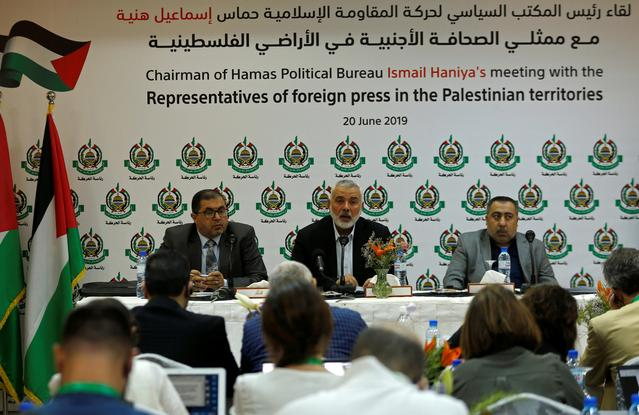 Hamas Chief Ismail Haniyeh attends a meeting with members of international media at his office in Gaza City June 20, 2019. REUTERS/Mohammed Salem