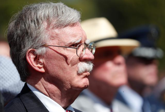 FILE PHOTO: U.S. national security advisor John Bolton attending the French - USA Commemoration marking the 75th anniversary of the Allied landings on D-Day at the Normandy American Cemetery and Memorial in Colleville-sur-Mer, France, 06 June 2019. Ian Langsdon/Pool via REUTERS